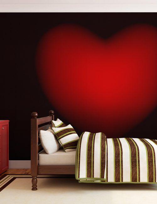 Carta da Parati Cuore Rosso  Carta da Parati Fotomurale con Arte Astratta Amore