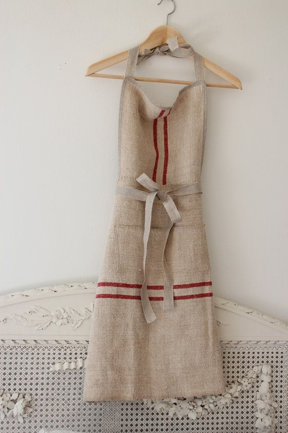 Vintage Grain Sack Apron Reserved for Michele di maisondemichele