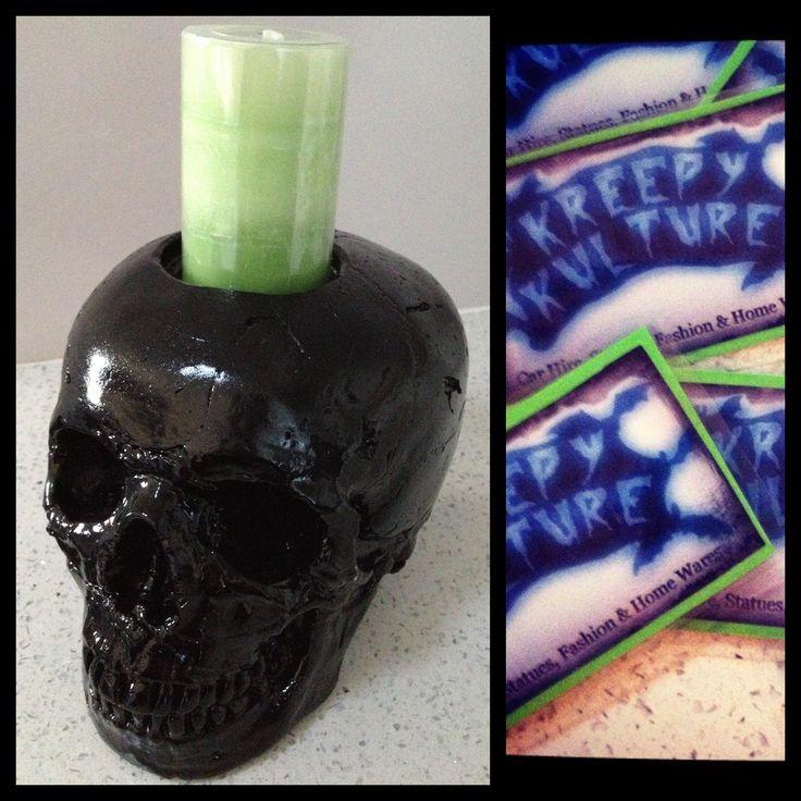 Kreepy Kulture Skull candle holder