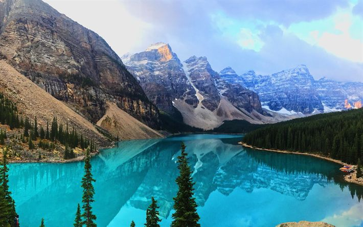 Lataa kuva Moreeni Järvi, 4k, sunrise, Banff National Park