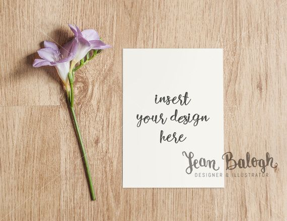 Invitation Card Mockup With A Purple Flower  High by JeanBalogh