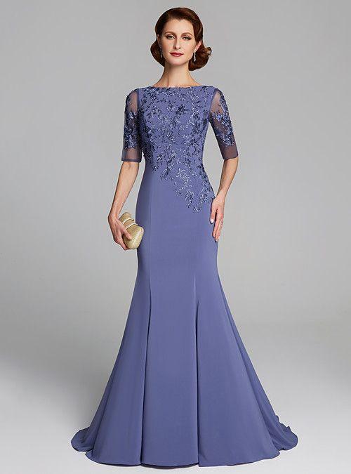 Sereia / Trompete Jewel Neck Sweep / Brush Train Crepe / Renda Mãe da noiva …   – Mother of the bride dresses