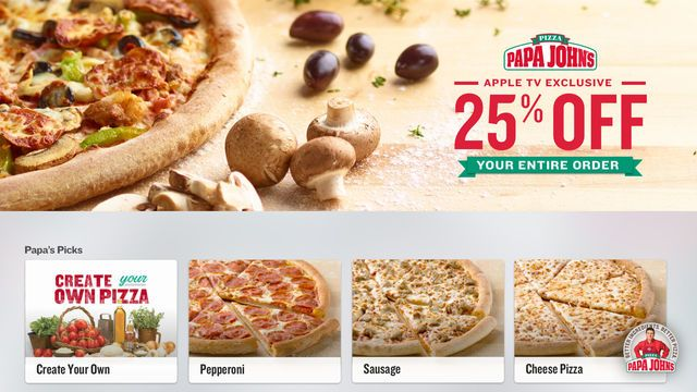 Une app Apple TV pour commander ses #pizzas depuis sa télé chez Papa John aux US