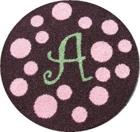 Round Polka Dots Initial Rug From Creative Carpet Design At Ababy We Offer For Your Baby Great