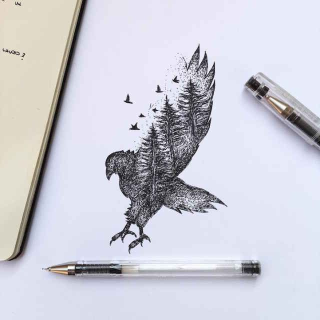 Natural Elements and Animals Fused Together in Intricate Pen Drawings - BlazePress