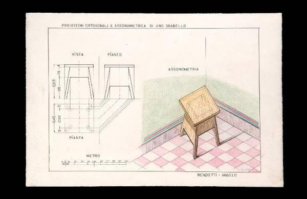 Proiezioni ortogonali e assonometrica di uno sgabello