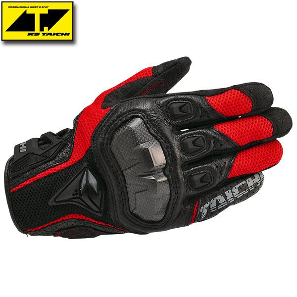 RS Taichi Armed Mesh Gloves RST391 Black/Red