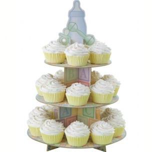 3 laags cupcake standaard in mooie kleuren, ideaal voor een babyshower. Ruimte voor 24 cupcakes.