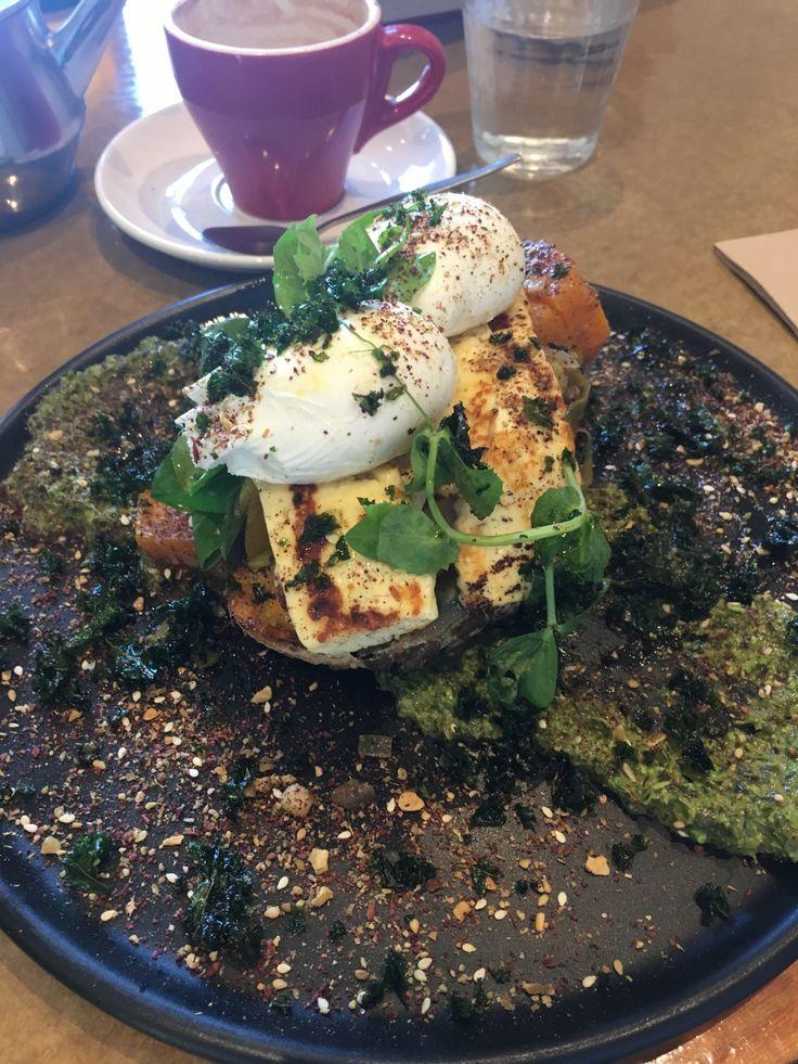 Haloumi and pumpkin brekkie, with pumpkin and leek mash, haloumi, kale puree, poached eggs and sumac dukkah
