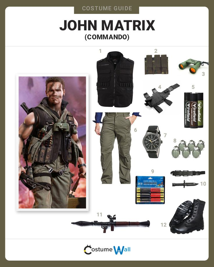 The best costume guide for dressing up like Col. John Matrix, the former special forces soldier who rescues his daughter in Commando.