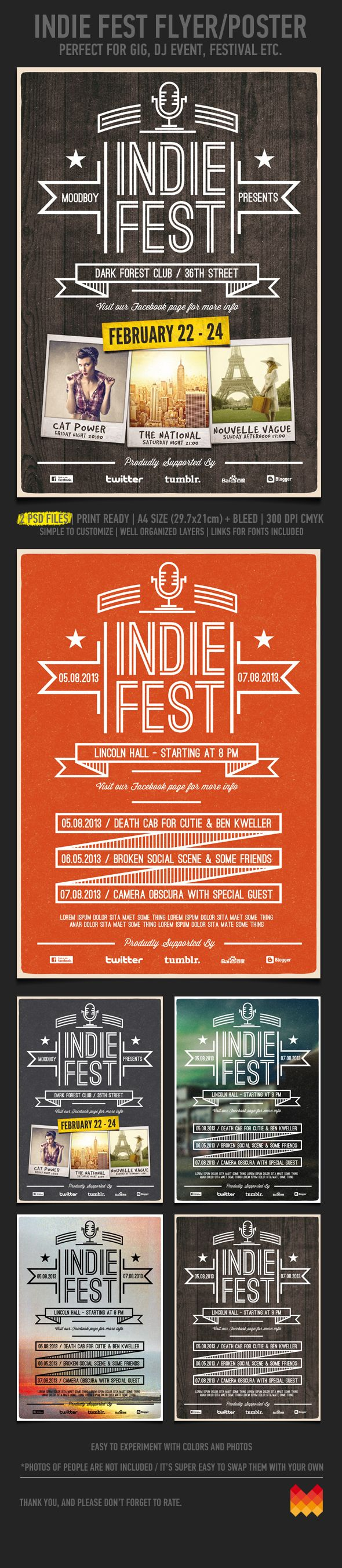 Indie Fest Flyer/Poster Template by moodboy , via Behance