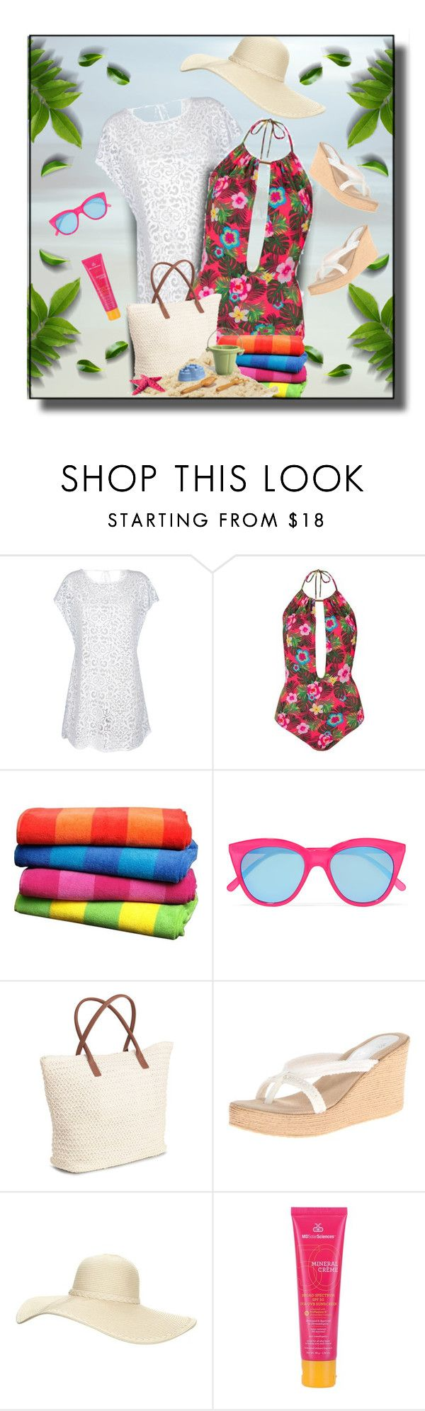"""""""Swimwear"""" by daiscat ❤ liked on Polyvore featuring Rene, Topshop, Le Specs, H&M, Sbicca, Reger by Janet Reger and MDSolarSciences"""