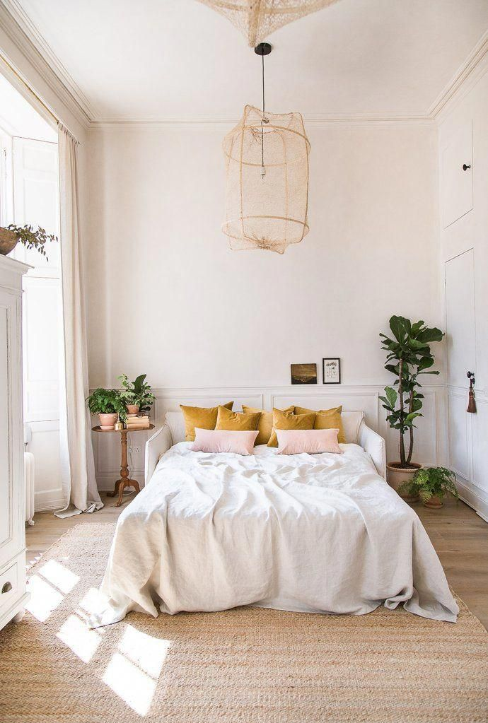 modern vintage bedroom decor in mustard yellow and…