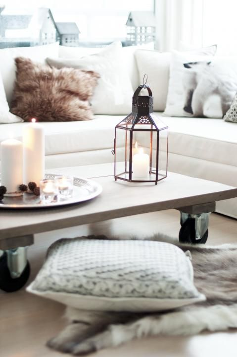 Clean and Cozy Living Room w/ a fun DIY coffee table