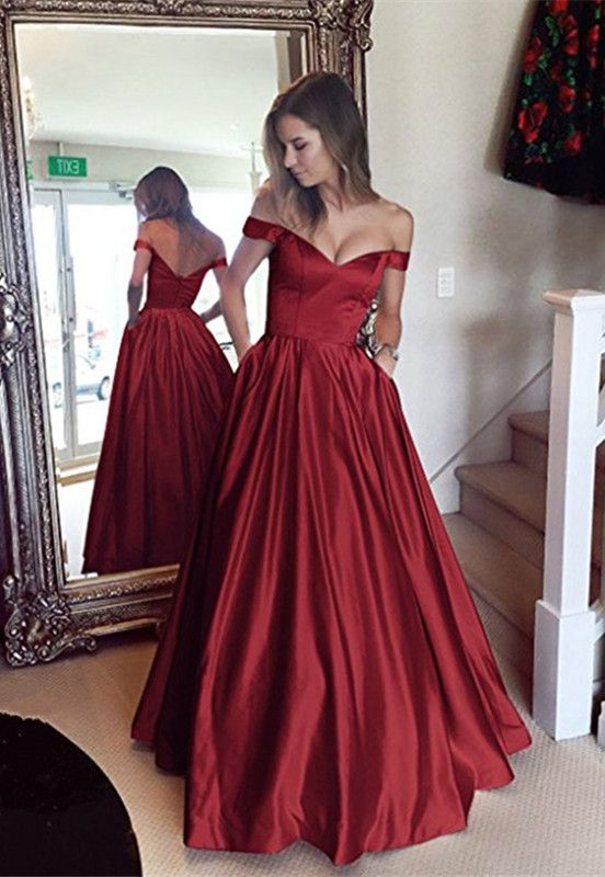 Simple V-neck Off Shoulder Long Satin Prom Dresses 2018 Women s Evening  Gowns 471906be56ac