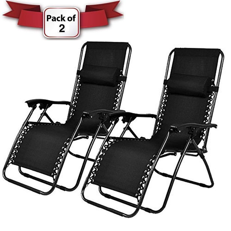 Outdoor Black Lounge Patio Folding Chair For Garden Or