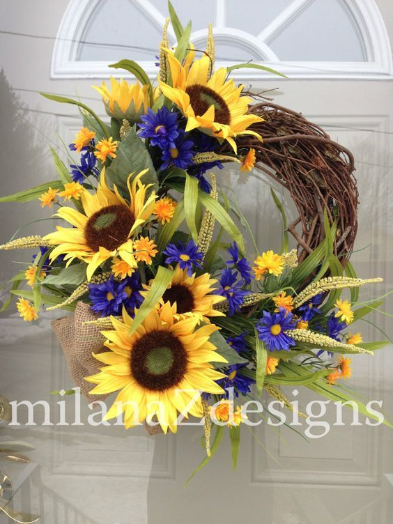 Sunflower Door Wreath, French Country Floral Wreath, Grapevine Summer Decoration, Blue Yellow Flowers, Bridal Shower Hanging Arrangment by milanaZdesigns on Etsy: