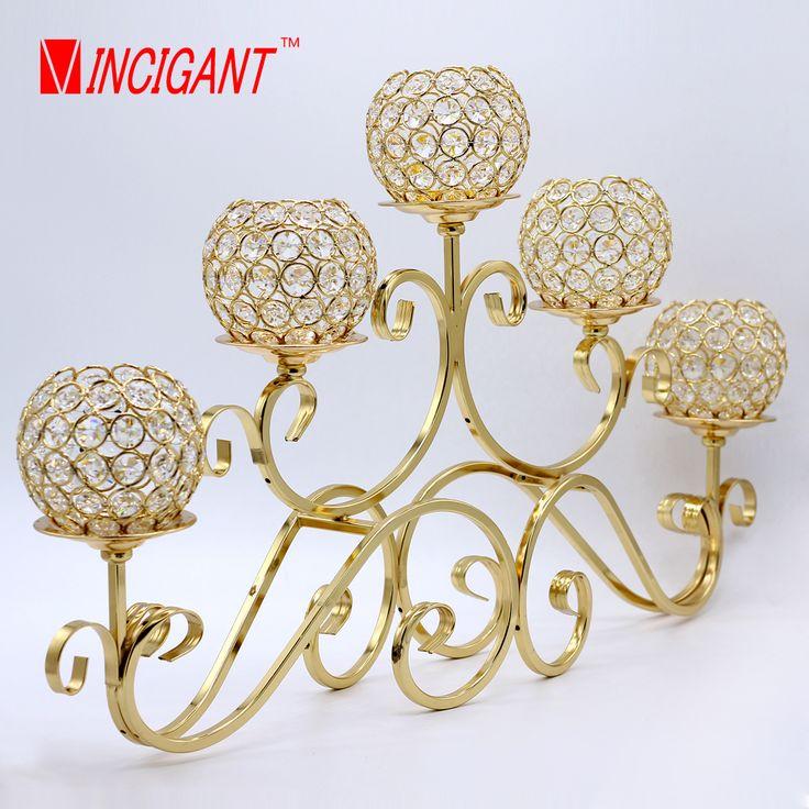 VINCIGANT metal lanterna suporte de vela 5 braços candelabro de cristal peças centrais do casamento decoração de casa candelabros Artísticos em Vela Titulares de Home & Garden no AliExpress.com | Alibaba Group