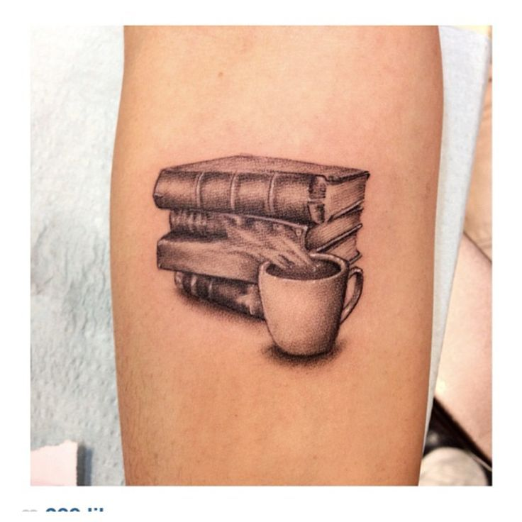 Black Ink Coffee Cup With Books Tattoo Design For Arm By Legion Avegno