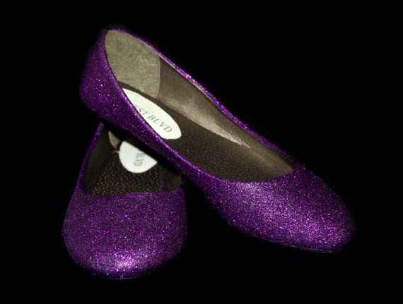 Amethyst Purple Sparkle Ballet Flats by RainbowDreamFactory~~ reception shoes