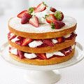 Strawberry Cream Cake. Supposed to be easy to prepare and lower cal than a layer cake.