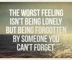 The worst feeling isnt being lonely but being forgotten by someon you cant forget