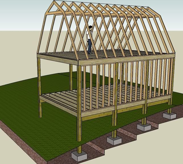 Making my own plans 16 39 x 24 39 gambrel style 2 story for Gambrel roof barn plans