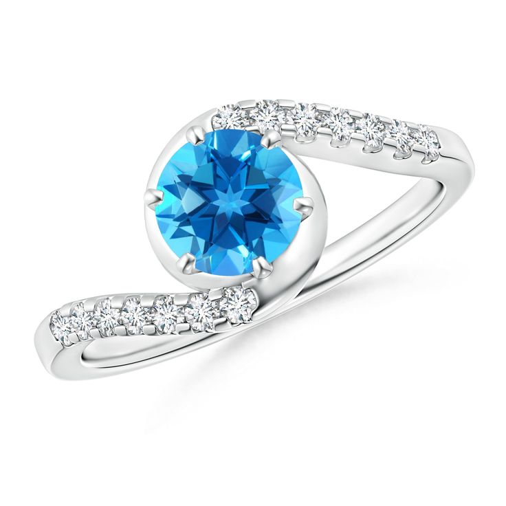 Angara Vintage Swiss Blue Topaz Flower Ring with Diamond Accents
