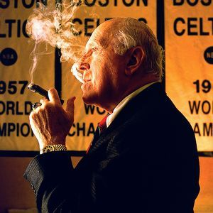 The victory cigar came from the legend himself, as evidenced by this 1996 portrait of Red Auerbach in front of the Celtics' championship banners.