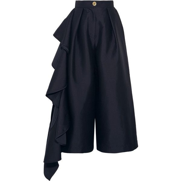 Solace London Margo ruffled charmeuse culottes (1 925 PLN) ❤ liked on Polyvore featuring pants, capris, trousers, navy, ruffle pants, navy trousers, blue trousers, navy blue trousers and navy pants