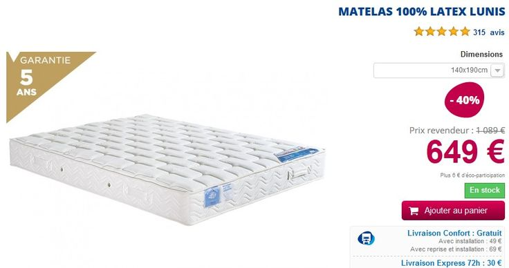 matelas 100 latex lunis belle literie matelas ma literie bons plans shopping pinterest. Black Bedroom Furniture Sets. Home Design Ideas