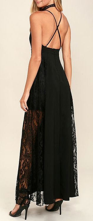 Lulus Exclusive! We're rolling out the red carpet for you and the Dark of Night Black Lace Maxi Dress! This party perfect number (made from woven fabric) features a high, rounded neckline, and princess-seamed bodice with adjustable straps that cross at back. Fitted waist opens to a full maxi skirt with panels of sheer black lace. #lovelulus