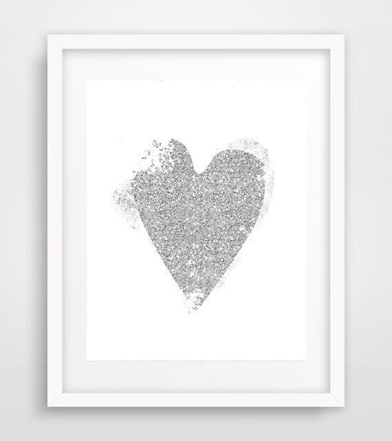 Silver Glitter Heart Print Gray Nursery Decor Digital by Ikonolexi