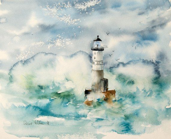 Marine Painting Original Watercolor Of A Lighthouse In Brittany