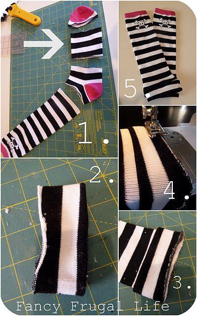 Turning socks into baby legs / leg warmers