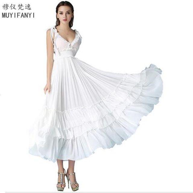 2017 Летние Элегантные Дамы Sexy V-образным Вырезом для Торжеств и Вечеринок Длинные Dress Женщины Спинки Тонкий Шифон Белый Пром Maxi Dress Vestidos D273