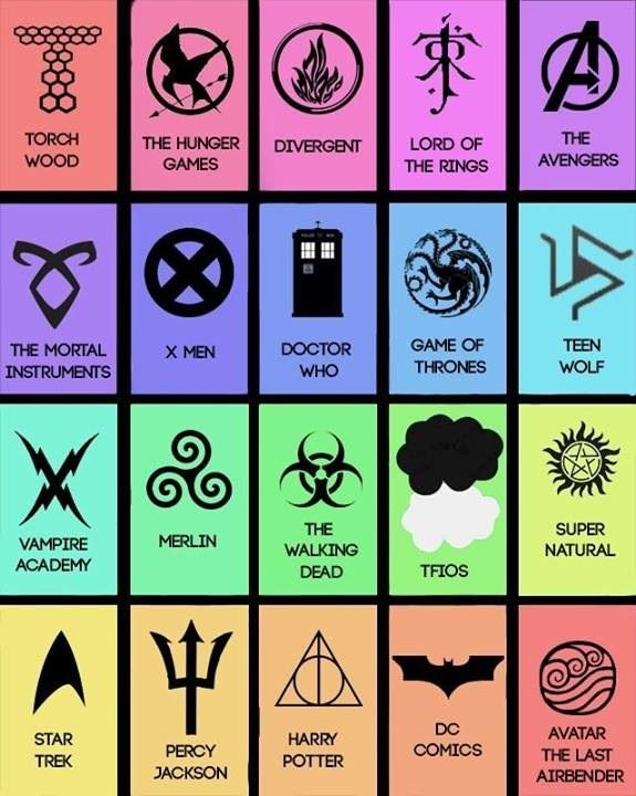 The Hunger Games, Divergent, Lord of the Rings, The Avengers, The Mortal Instruments, X Men, Game of Thrones, Merlin, Supernatural, Harry Potter, and Avatar the Last Airbender.  I think I have a problem guys.