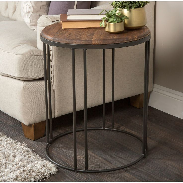 Burnham Reclaimed Wood And Iron Round Side Table By Kosas Home (Reclaimed  Pine Wood And