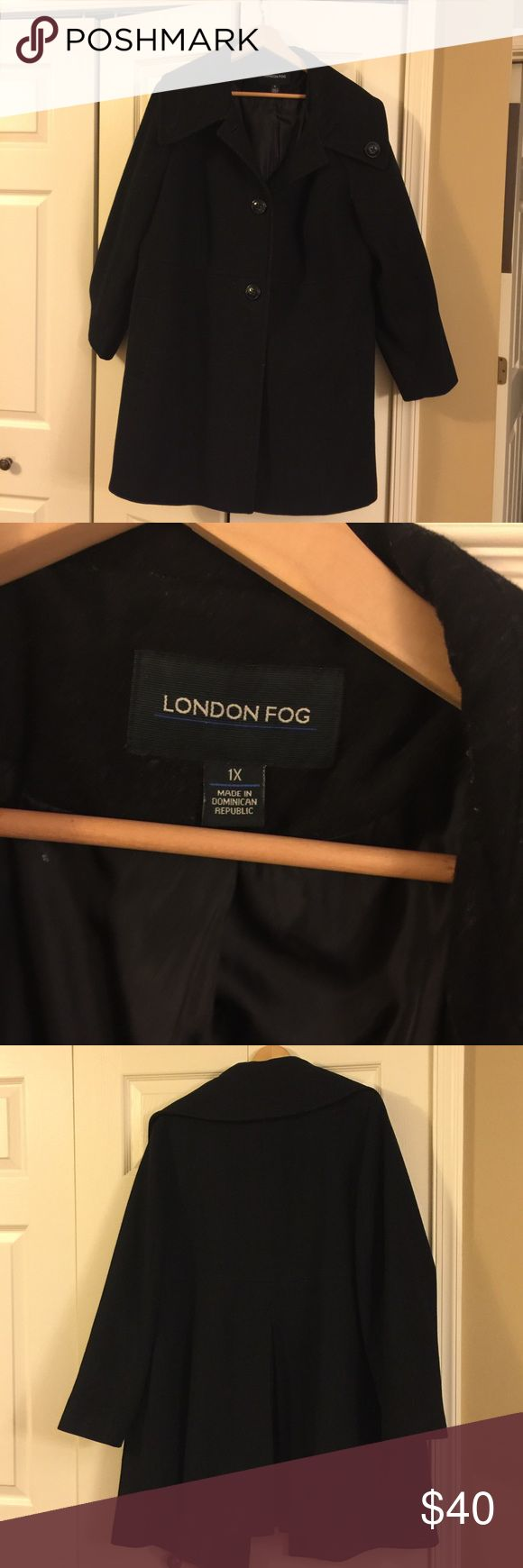 London Fog Ladies Winter Coat Very nice woman's wool coat; black; vent in back; 2 buttons in front; collar can also be buttoned closed. London Fog London Fog Jackets & Coats Pea Coats