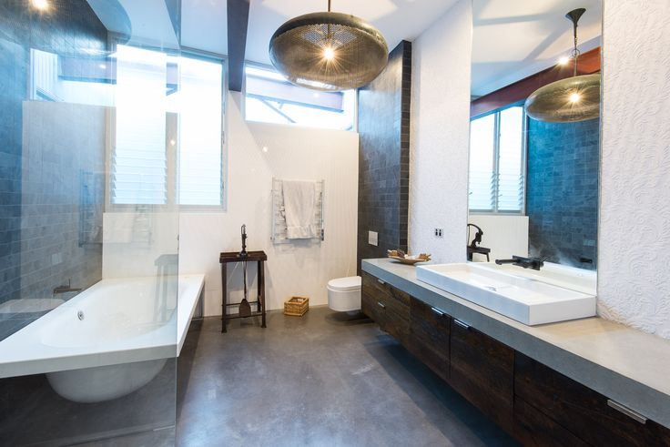 Stunning bathroom with concrete benchtop by @concreateau #benchtop #concreate #concrete #countertop #vanity #bathroom