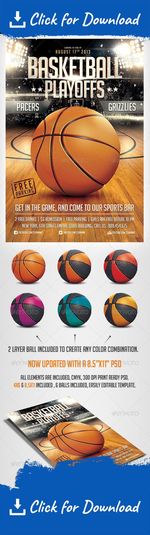 arena, basket ball, basketball, college, court, dunk, event, fans, floor, flyer, football, game, goal, hockey, hoop, league, March Madness, nba, olympics, playoffs, realistic, silhouette, sports, street, template, tournament, urban, usa, wood                 Please dont forget to Rate          a Hyper realistic flyer template for your Basketball event.. a layered Ball is included so you can change its color in full, or separate parts of the ball..   Easily change Texts, Colors…