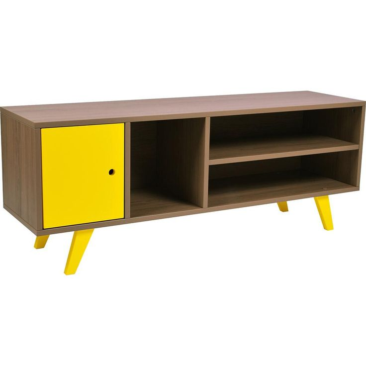 Rack para Sala de TV 1 Porta 3 Nichos Moduler- 100% MDF - Amadeirado e Laca Amarelo -Móveis e Decoração - Racks e Bancadas - Walmart.com
