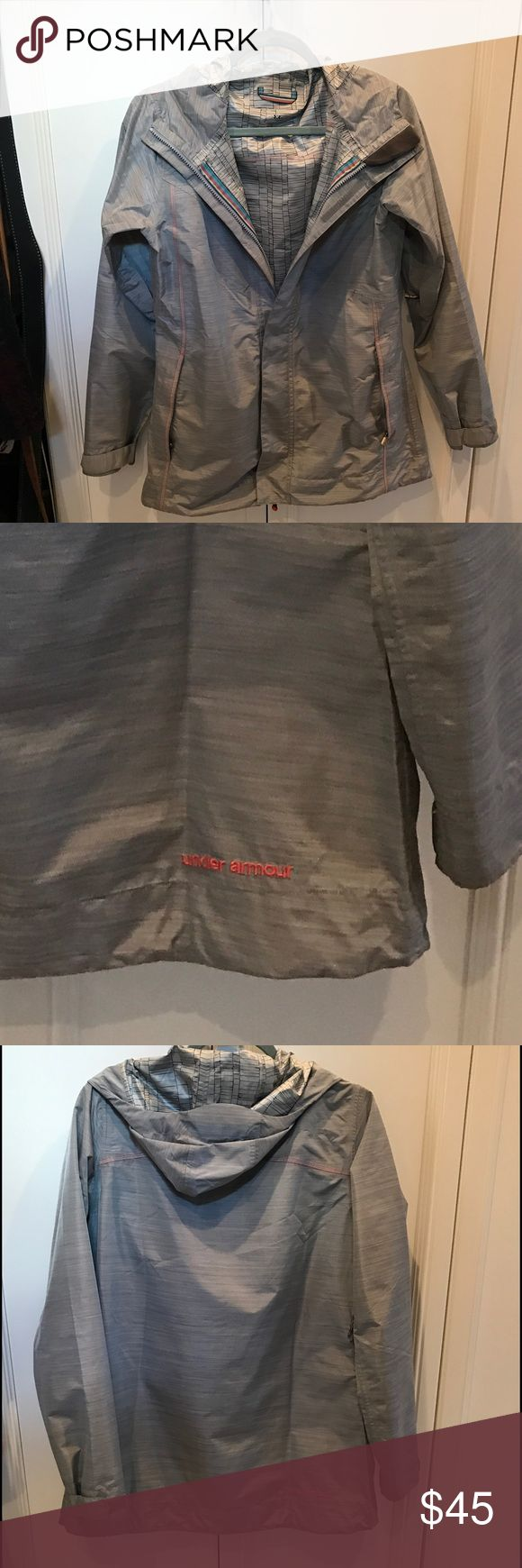 Under Armour Women's Rain Jacket Excellent Condition, no stuns or flaws, light gray with orange trim stitching Under Armour Jackets & Coats