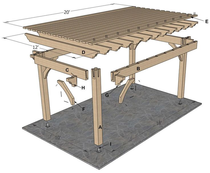 Plan for a 12 x 20 timber frame over sized diy pergola for 12x10 deck plans