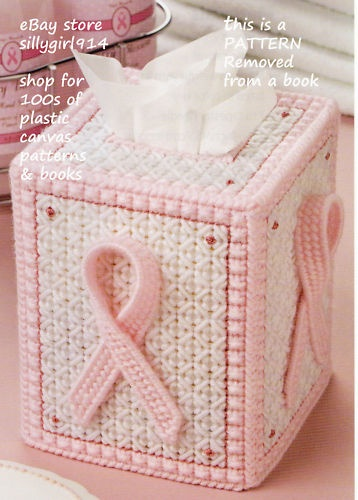 Pink Ribbon Tissue Box Cover Plastic Canvas Pattern | eBay