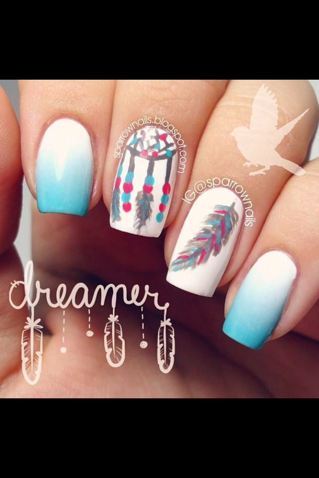 Dream Catcher Feather Nails Too Cute Nails