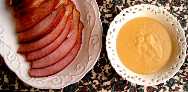 Orange Glazed Ham with Mustard Sauce--mustard sauce for Easter Ham:MUSTARD SAUCE: 3 egg yolks 1/2 C brown sugar 1 T flour 1/4 C dry mustard 1/2 C white vinegar 1/2 C water 4 T butter