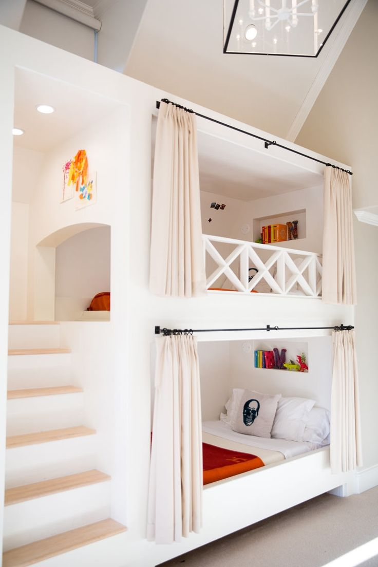 Stair drawers would be fab! ~ Bunk beds with built-in stairway and curtain rods | Amy Berry Design