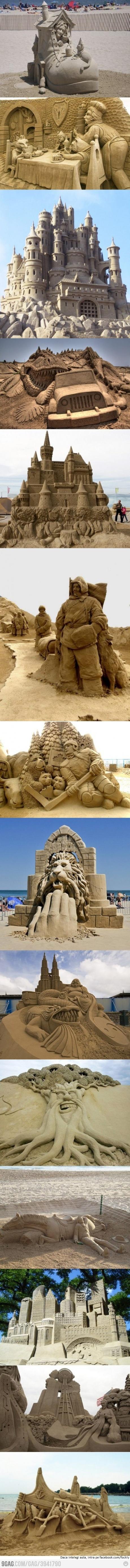 Fairy tale sand castles: a variety of sand art #Sandart #SandCastle #Beach