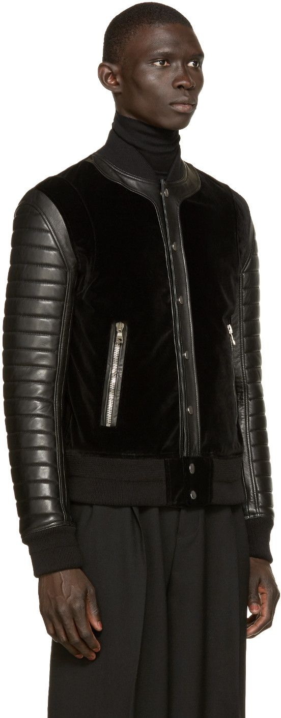 Balmain Black Velvet & Leather Bomber Jacket